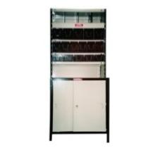 Estantería armada, combinada 4 y 5 estantes, puertas, divisores, gavetas y chapas de forro